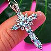 Серебряный крестик с голубым топазом - Женский крестик с топазом серебро, фото 2