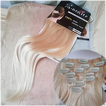 """Волосы натуральные на заколках(клипсах) блонд REMY18""""-60"""