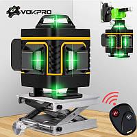 !!!4D!!! !ЗЕЛЕНЫЙ ЛУЧ + ПУЛЬТ! Лазерный уровень Vokpro (Hilda) 4D 16 линий, лазерний рівень