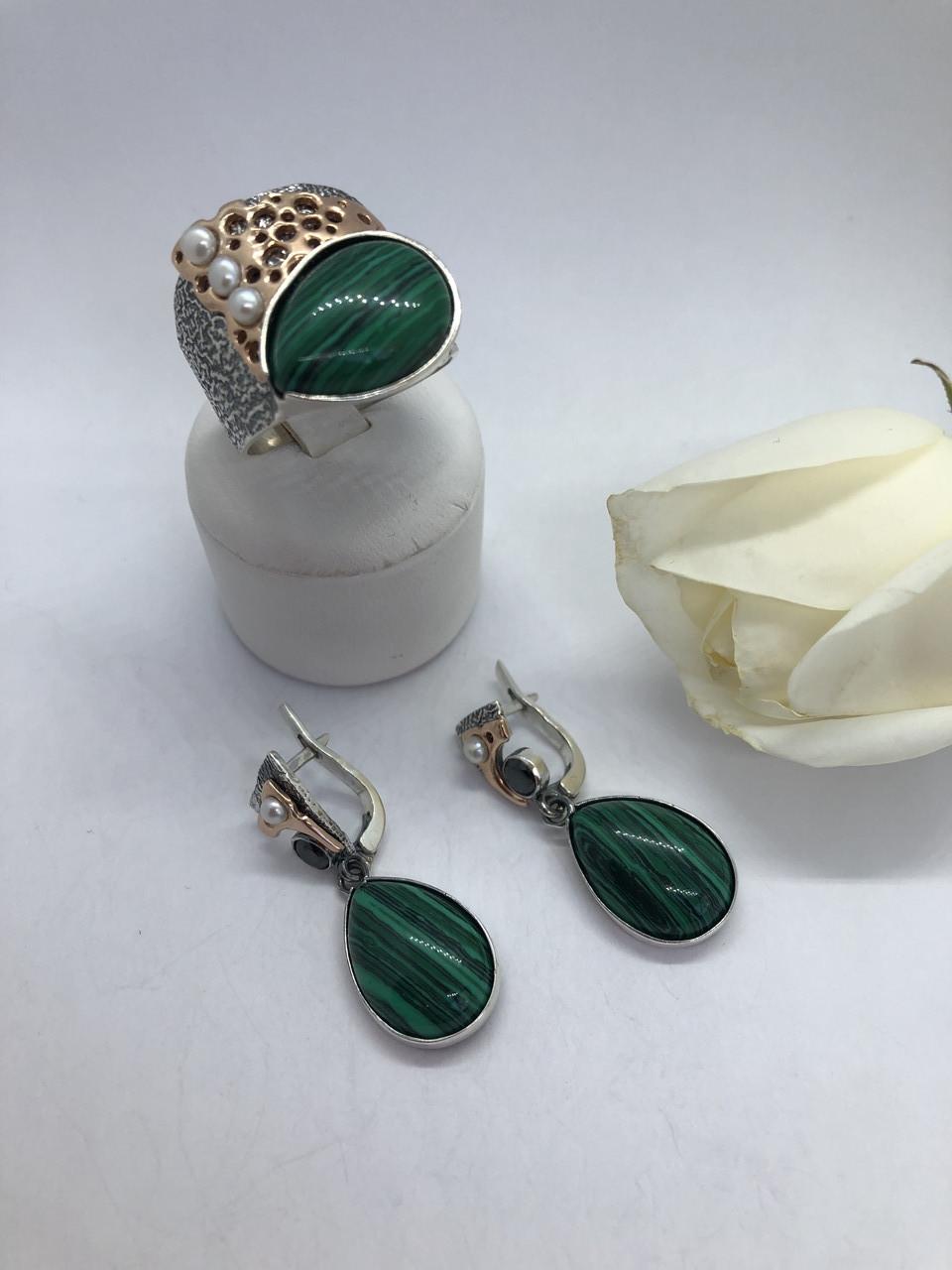 Комплект серебряных украшений Марле малахит от Ирида-В