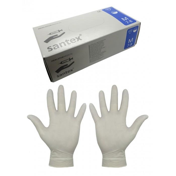 """Перчатки латексные, припудренные """"Santex"""", размер: M(7-8), 50 пар./уп, белые"""