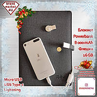 Блокнот Power Bank 8000 mAh + USB 16 GB (бизнес ежедневник, органайзер, павербанк, флешка, ручка) Код: bm44