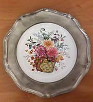 Оловянная настенная тарелка с порцеляной, клеймо, винтаж, Германия