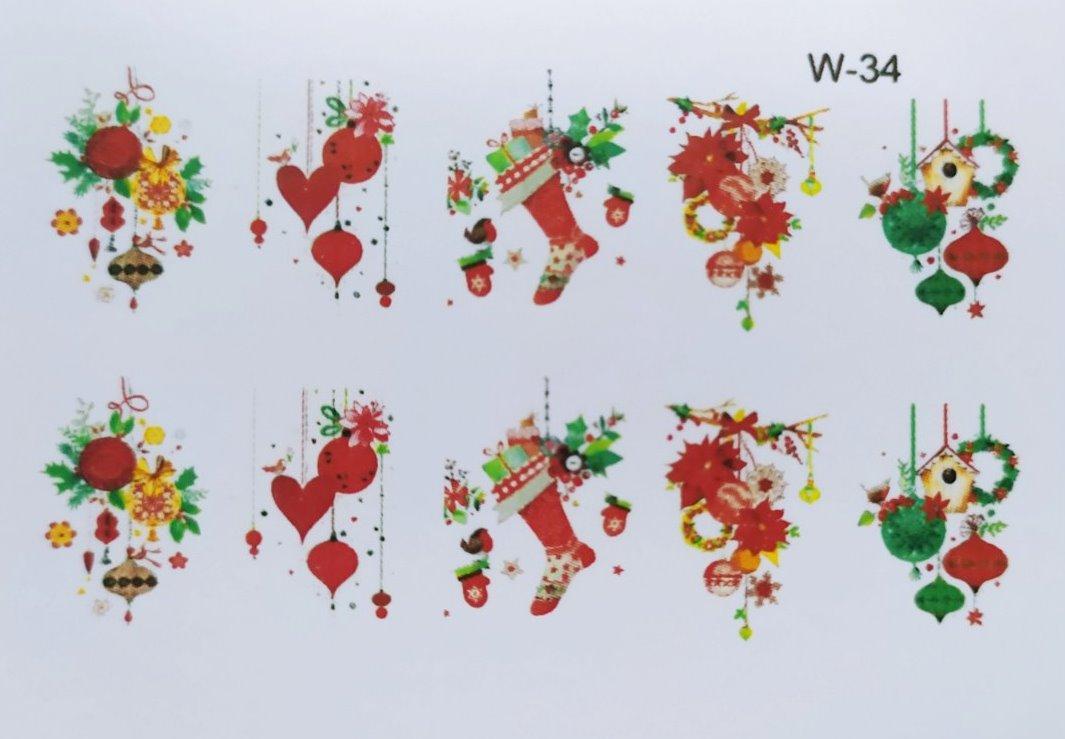 Водные наклейки (слайдер дизайн) Новогодний дизайн W-34