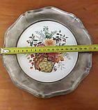 Оловянная настенная тарелка с порцеляной, клеймо, винтаж, Германия, фото 2