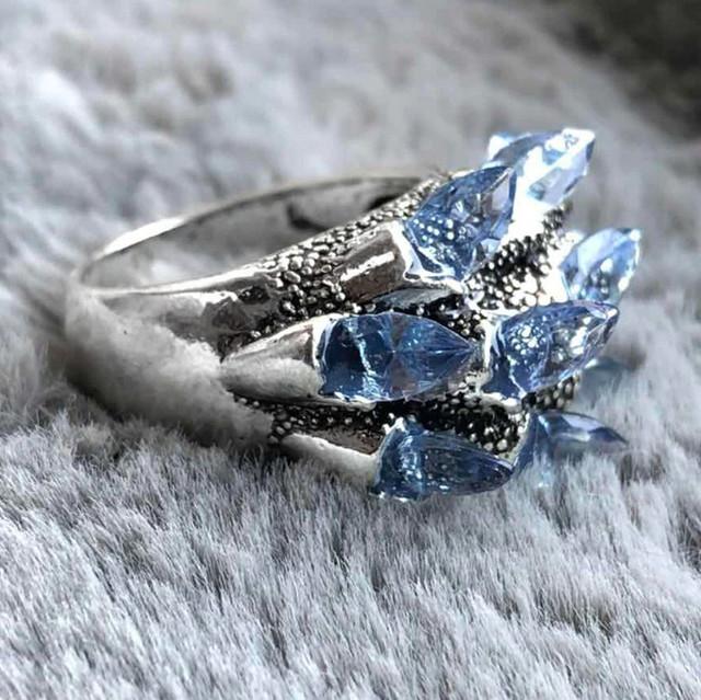 женское кольцо с голубыми камнями