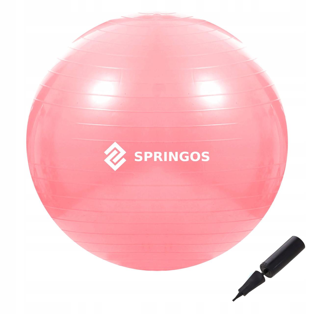 М'яч для фітнесу (фітбол) Springos 75 см Anti-Burst FB0012 Pink