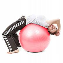 М'яч для фітнесу (фітбол) Springos 75 см Anti-Burst FB0012 Pink, фото 2