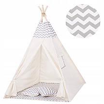 Детская палатка (вигвам) Springos Tipi XXL TIP03 White/Grey, фото 3