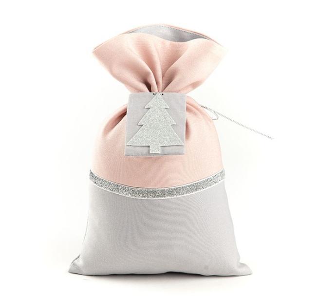 Подарочный мешочек серо-пудровый