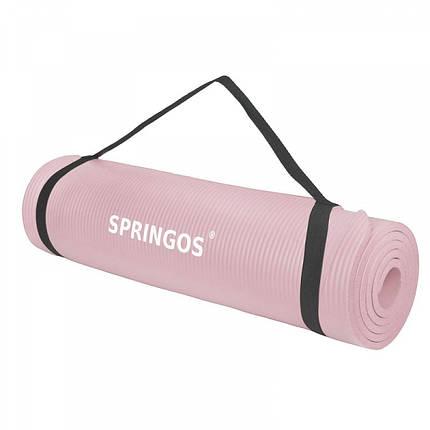 Коврик (мат) для йоги и фитнеса Springos NBR 1.5 см YG0040 Pink, фото 2