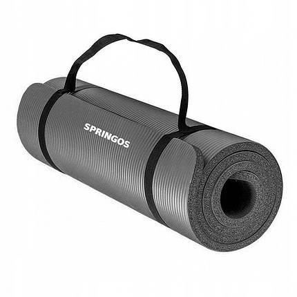 Коврик (мат) для йоги и фитнеса Springos NBR 1.5 см YG0001 Grey, фото 2
