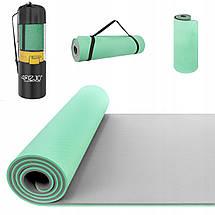 Коврик (мат) для йоги и фитнеса 4FIZJO TPE 1 см 4FJ0202 Mint/Grey, фото 2