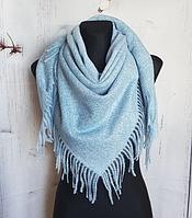 Теплый платок Миранда 105*105 см голубой, фото 1