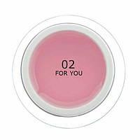 Гель для наращивания ногтей FOR YOU № 02 Светло Розовый, 15 мл