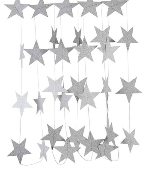 """Паперова гірлянда """"Срібні зірки з глітером"""" (4 метри)"""