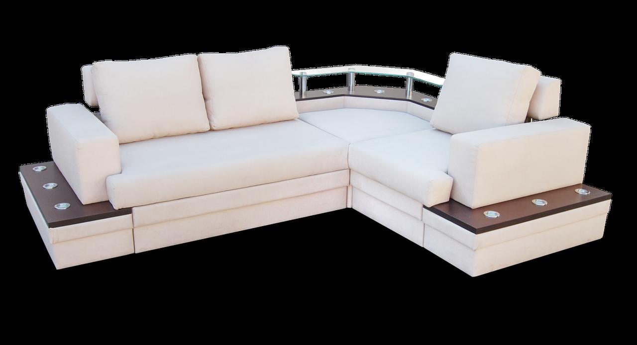 Угловой  белый диван  Фараон фабрики Нота с полкой