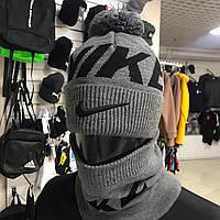 Теплая мужская спортивная шапка и баф Nike Background Grey(набор)
