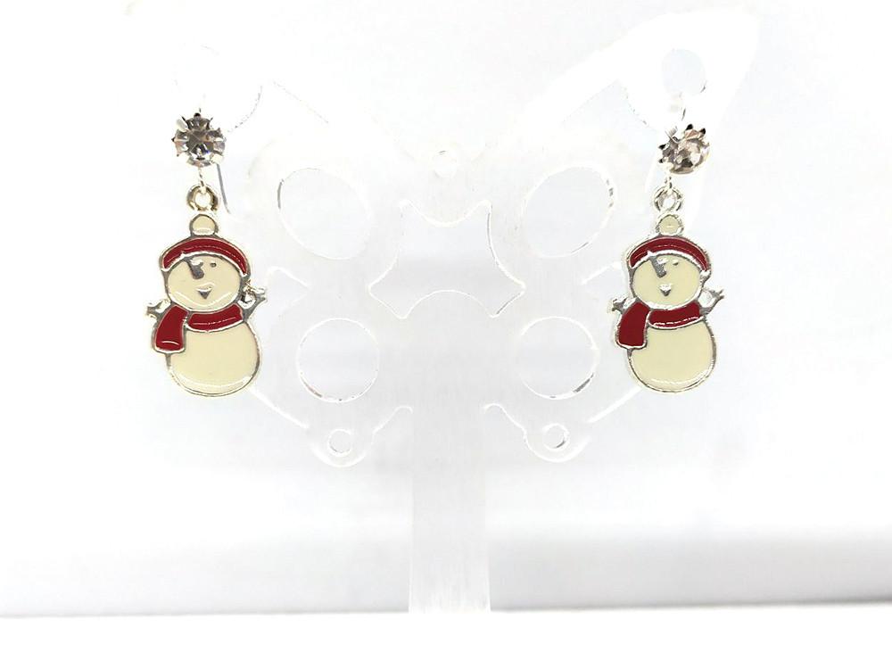 Снеговики - Серьги Новогодние #7, сверкающие стразы