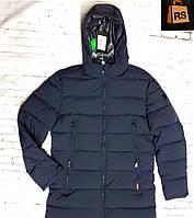 Куртка мужская зимняя классическая темно-синего цвета с капюшоном