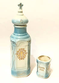 Керамічний посуд для святої води зі склянкою комбінований (26 см)
