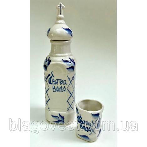 """Керам. сосуд для св. воды со стаканом """"Гжель"""" (выс. 24см)"""