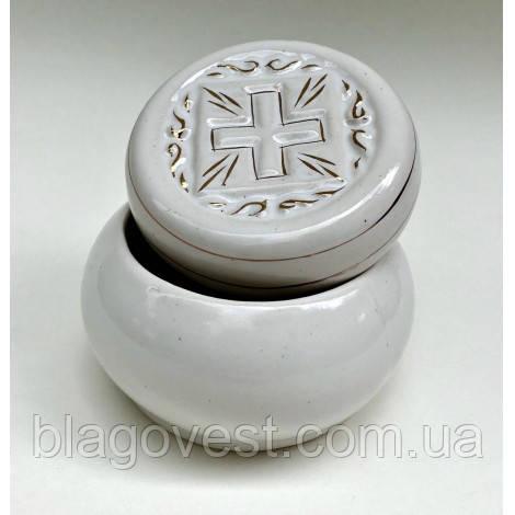 Керам. посудина для просфори (біле золото)