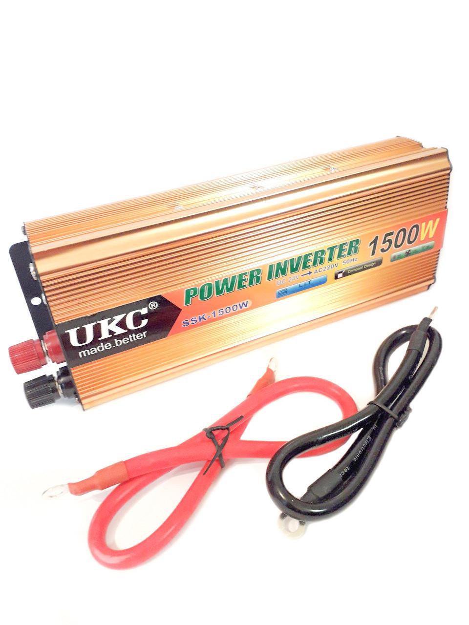 Перетворювач авто інвертор UKC 24V-220V 1500W (003167)