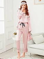 Комплект шелковый в полоску для сна, дома из 7 предметов. Пижама женская в стиле VS (розовый)
