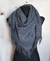 Теплый платок Миранда 105*105 см графит, фото 1