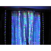 Гирлянда-штора электрическая на 280 Led больших матовых светодиодов Водопад мультицвет 3*1.5 м