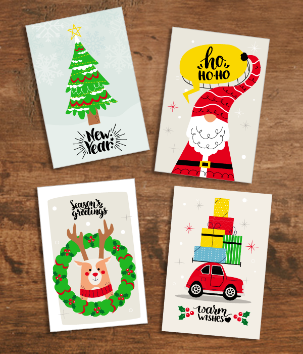 Набор стильных новогодних мини-открыток (4 шт.)