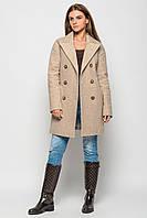 Пальто комбинированное демисезонное женское PL-8582 (Бежевый)