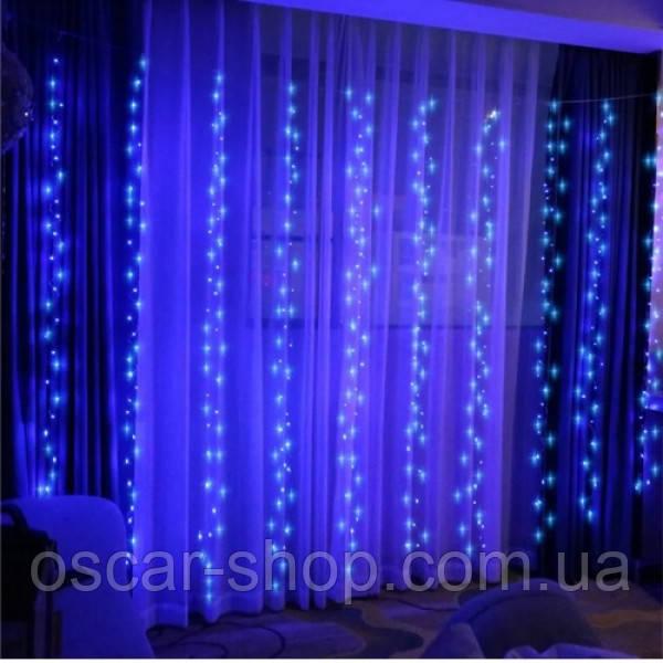 Гирлянда-штора электрическая на 280 Led больших матовых светодиодов Водопад синяя 3*1.5 м