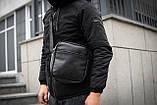 Чоловіча шкіряна PU сумка через плече месенджер Nike розмір XL, фото 9