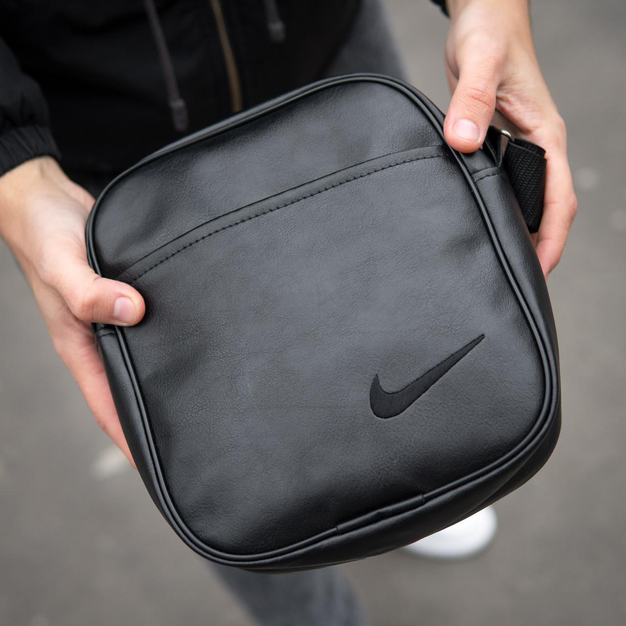 Чоловіча шкіряна PU сумка через плече месенджер Nike розмір XL