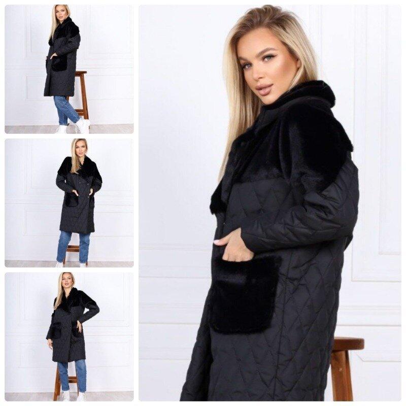 Тёплое зимнее женское пальто стёганное плащевка на синтепоне с отделкой эко кролик С М Л