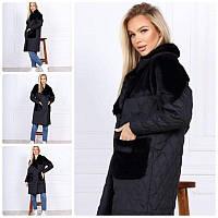 Тёплое зимнее женское пальто стёганное плащевка на синтепоне с отделкой эко кролик С М Л, фото 1