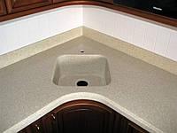Столешница для кухни из акрилового искуственного камня с акриловой мойкой