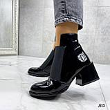 Женские ДЕМИ / осенние ботильоны черные на каблуке 6 см эко лак, фото 8