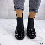 Женские ДЕМИ / осенние ботильоны черные на каблуке 6 см эко лак, фото 4
