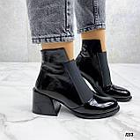 Женские ДЕМИ / осенние ботильоны черные на каблуке 6 см эко лак, фото 6