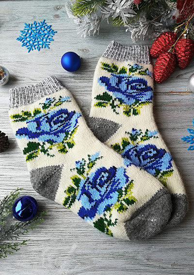 """Носки женские шерстяные зимние вязаные новогодние на новый год """"Голубая роза"""" , р. 38-41"""
