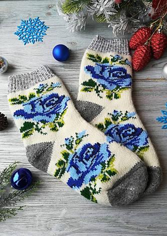 """Носки женские шерстяные зимние вязаные новогодние на новый год """"Голубая роза"""" , р. 38-41, фото 2"""