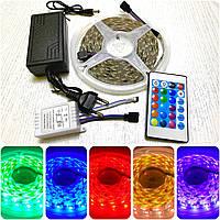Светодиодная лента 16 цветов с пультом и блоком питания LED 5050 RGB, фото 1