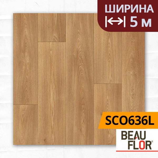 Линолеум ПВХ Beauflor Supreme Columbian Oak 636L, Ширина - 5 м; 2.9/0,4 - полукоммерческий на подложке