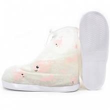 Детские резиновые бахилы Lesko на обувь от дождя Кит XL Розовый (3715-12194a)
