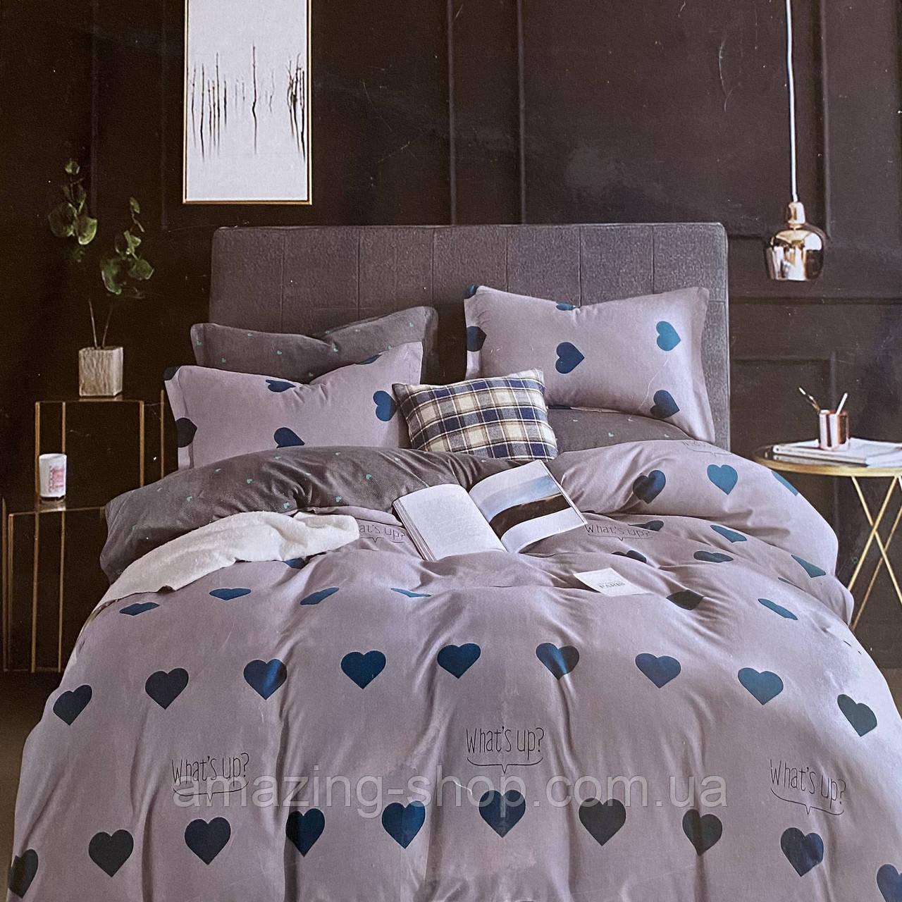 Полуторный комплект постельного белья с простынью на резинке 150*220см. Постельное белье с фланели