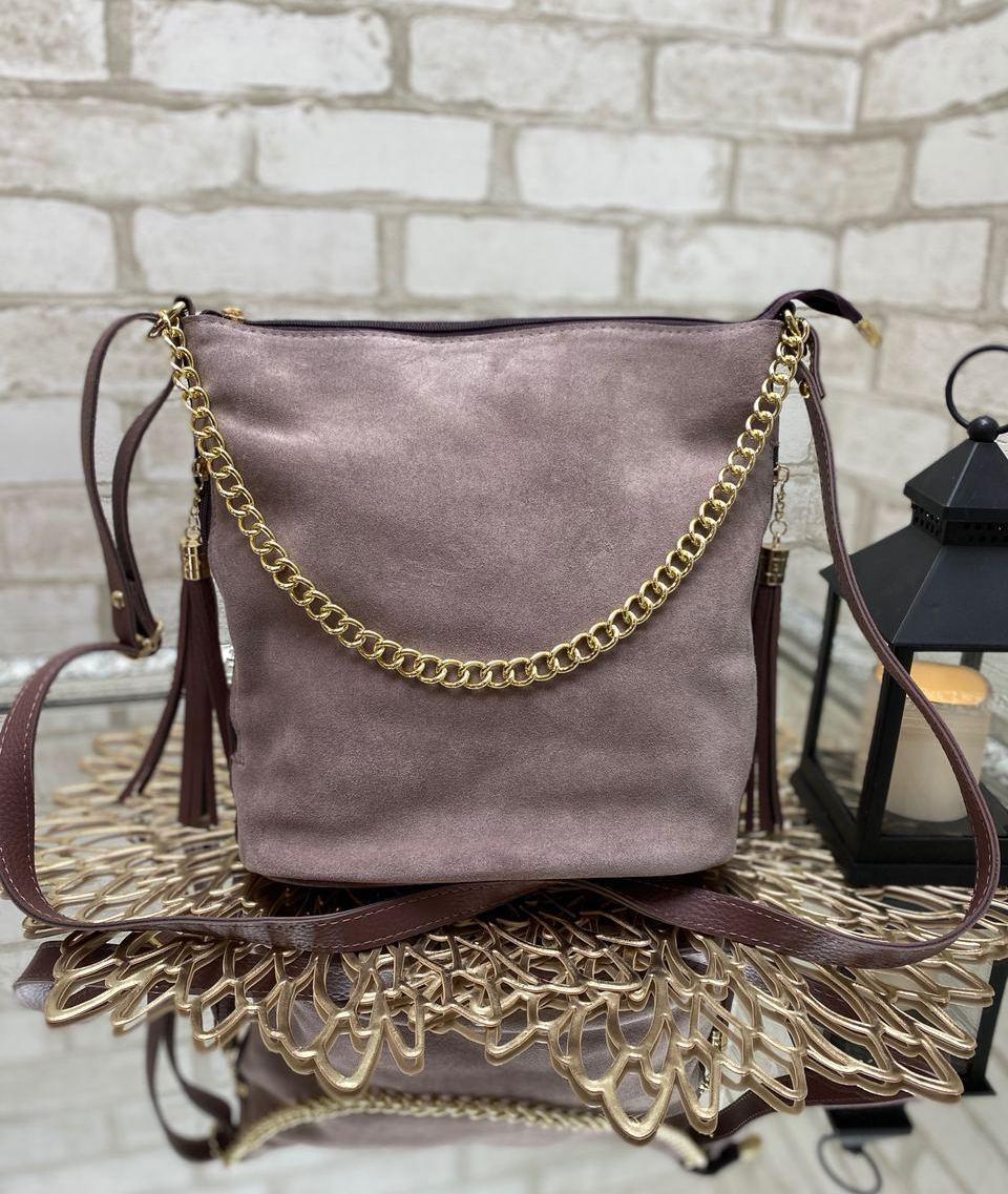 Замшевая женская сумка мешок пудровая вместительная модная удобная натуральная замша+кожзам
