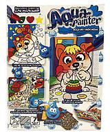 """Набор с водяными раскрасками """"Aqua Painter"""", 4 картины в наборе + наклейки и декор, AQP-01"""